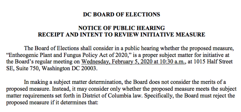 Notice of Public Hearing: February 5, 2020
