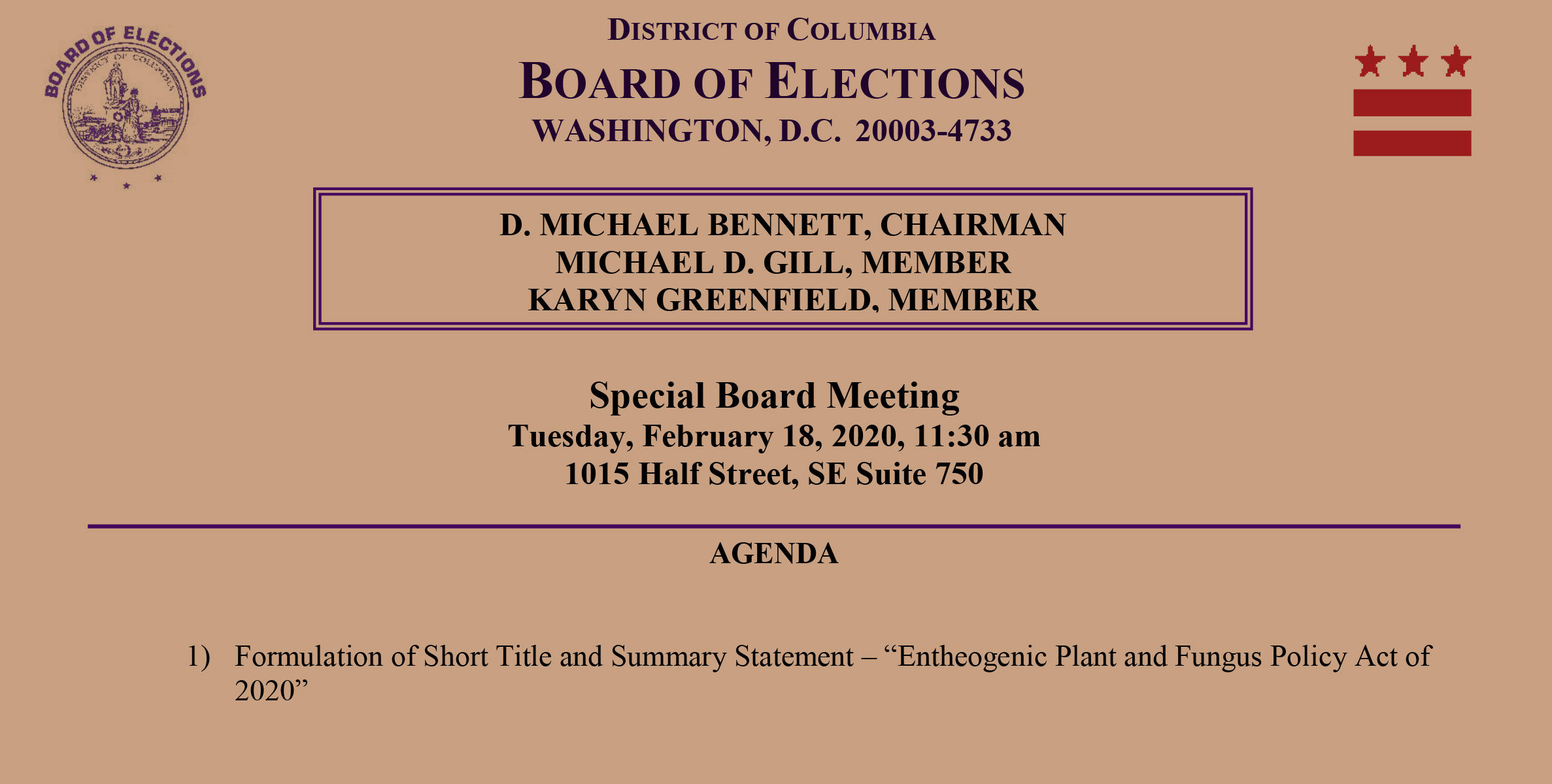 Press Release: DC Ballot Initiative to Decriminalize Entheogens Gains Unanimous Approval from DC Board of Elections